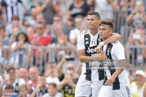 Cristiano Ronaldo and Paulo Dybala during the PreSeason Friendly match between Juventus and Juventus U19 on August 12 2018 in Villar Perosa Italy