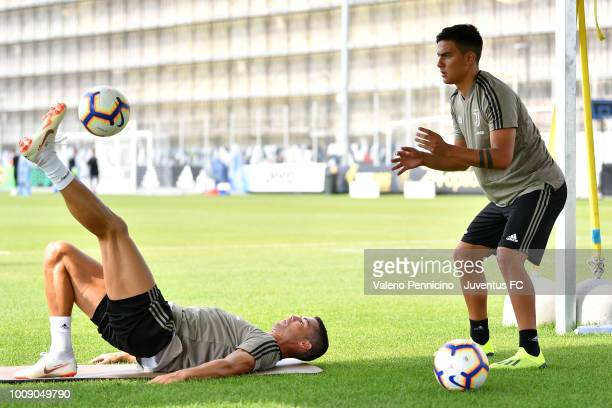 Cristiano Ronaldo and Paulo Dybala of Juventus during a Juventus training session on on August 1 2018 in Turin Italy
