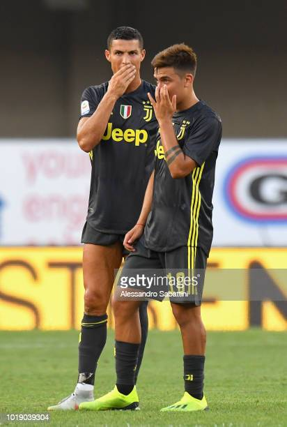 Cristiano Ronaldo and Paulo Dybala of Juventus during the serie A match between Chievo Verona and Juventus at Stadio Marc'Antonio Bentegodi on August...