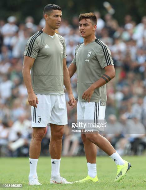 Cristiano Ronaldo and Paulo Dybala of Juventus during the warm up prior to the PreSeason Friendly match between Juventus and Juventus U19 on August...