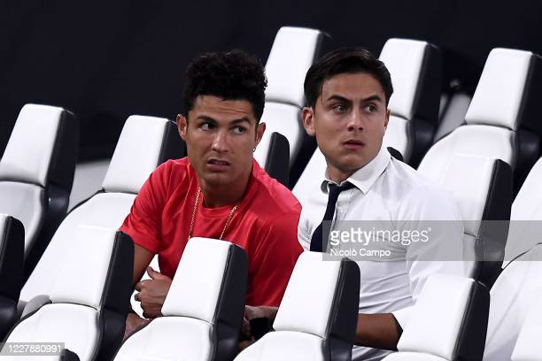 Cristiano Ronaldo and Paulo Dybala of Juventus FC attend the Serie A football match between Juventus FC and AS Roma AS Roma won 31 over Juventus FC