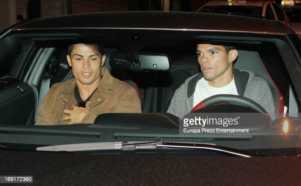 Cristiano Ronaldo and Pepe are seen leaving a restaurant some hours after the president of Real Madrid Florentino Perez announces that coach Jose...