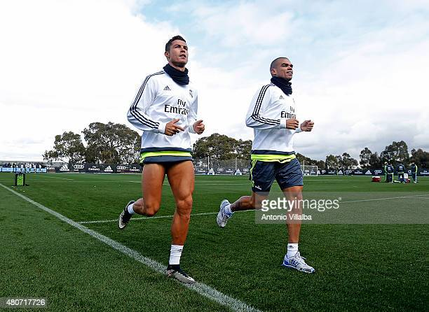 Cristiano Ronaldo and Pepe of Real Madrid during a training session on July 15 2015 in Melbourne Australia
