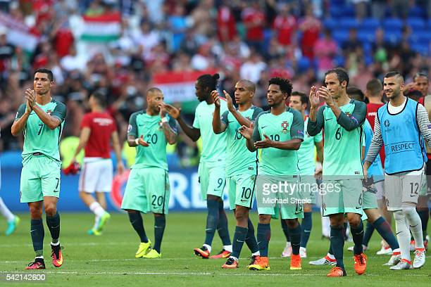 Cristiano Ronaldo and Portugal players applaud the supporters after the UEFA EURO 2016 Group F match between Hungary and Portugal at Stade des...