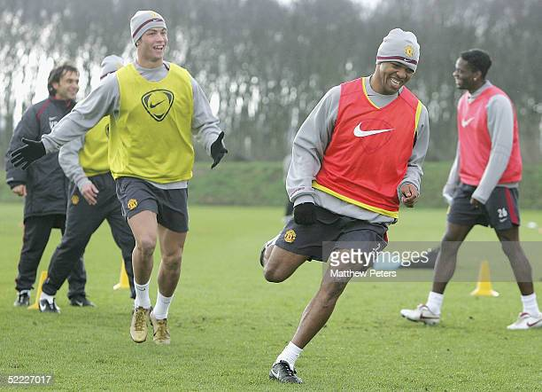 Cristiano Ronaldo and Quinton Fortune of Manchester United in action during a first team training session ahead of the UEFA Champions League match...