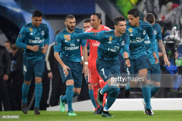 Cristiano Ronaldo and Real Madrid players are seen during the UEFA Champions League Quarter Final first leg between Juventus and Real Madrid at...