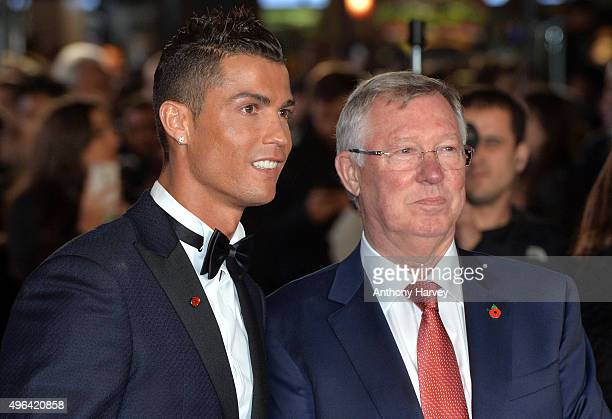 Cristiano Ronaldo and Sir Alex Ferguson attends the World Premiere of 'Ronaldo' at Vue West End on November 9 2015 in London England