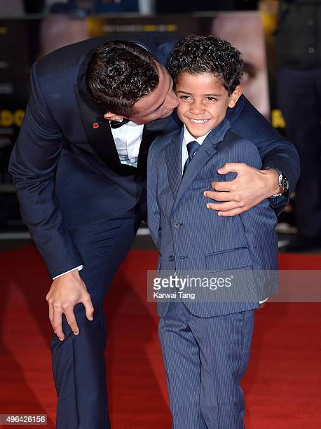 Cristiano Ronaldo and son Cristiano Ronaldo Jnr attend the World Premiere of 'Ronaldo' at Vue West End on November 9 2015 in London England