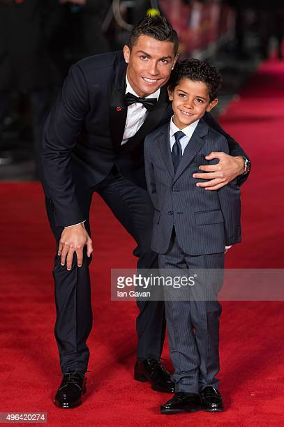 Cristiano Ronaldo and son Cristiano Ronaldo Jr attend the World Premiere of 'Ronaldo' at Vue West End on November 9 2015 in London England