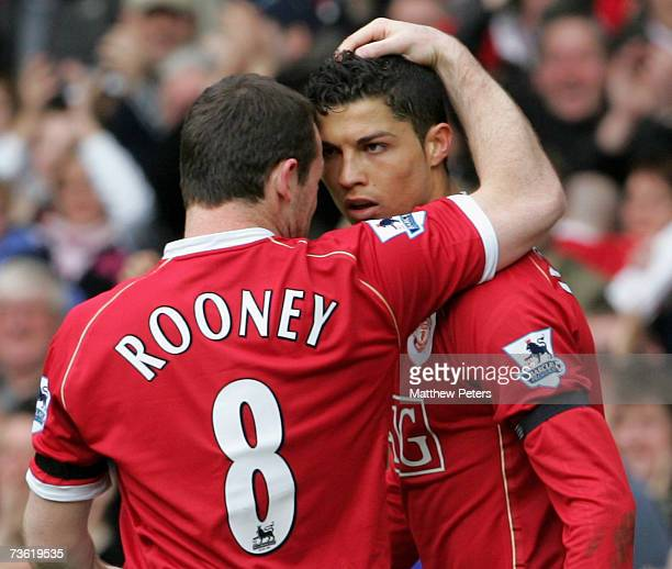 Cristiano Ronaldo and Wayne Rooney of Manchester United celebrate Ji-Sung Park scoring United's first goal during the Barclays Premiership match...