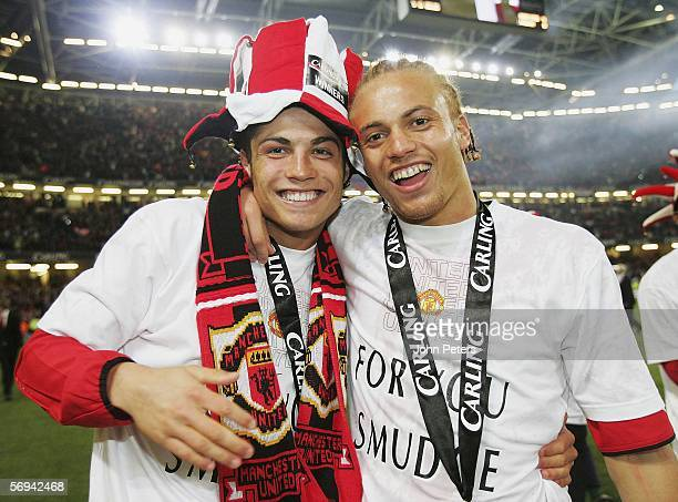 Cristiano Ronaldo and Wes Brown of Manchester United celebrate after the Carling Cup Final match between Manchester United and Wigan Athletic at The...