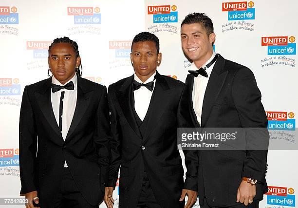Cristiano Ronaldo Anderson de Abreu Olivei and Nani arrive for the Manchester United `United for UNICEF' Gala Dinner at Manchester United Football...