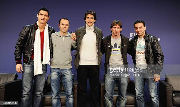 Cristiano Ronaldo Andres Iniesta Kaka Lionel Messi and Xavi line up for a picture at a press conference before the FIFA World Player Gala on December...