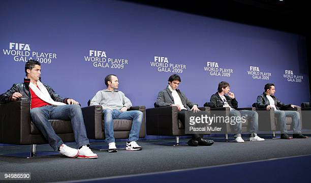 Cristiano Ronaldo Andres Iniesta Kaka Lionel Messi and Xavi speak to the media at a press conference before the FIFA World Player Gala on December 21...
