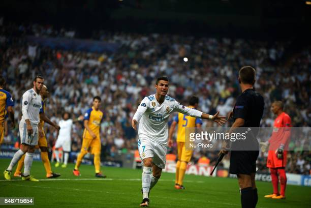 Cristiano Ronaldo angry ask referee penalty during the match between Real Madrid and Apoel Nikosia at the Santiago Bernabeu stadium in Madrid on 13rd...