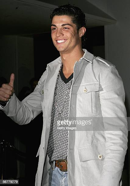 Cristiano Ronaldo arrives at the launch of Nike's 'Joga Bonito' at the Truman Brewery on February 7 2006 in London England Wayne Rooney Rio Ferdinand...