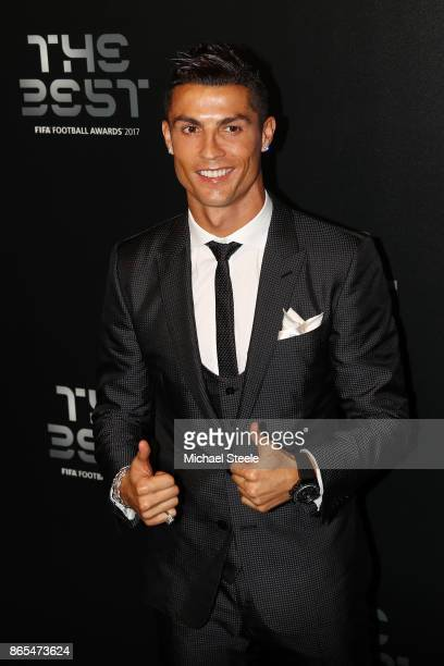 Cristiano Ronaldo arrives for The Best FIFA Football Awards Green Carpet Arrivals on October 23 2017 in London England