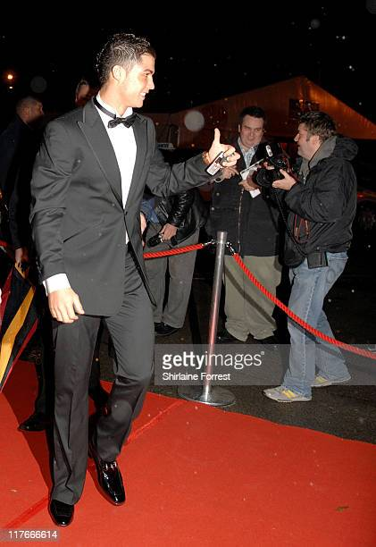 Cristiano Ronaldo arrives for the Manchester United `United for UNICEF' Gala Dinner at Manchester United Football Club October 28 2007 in Manchester...