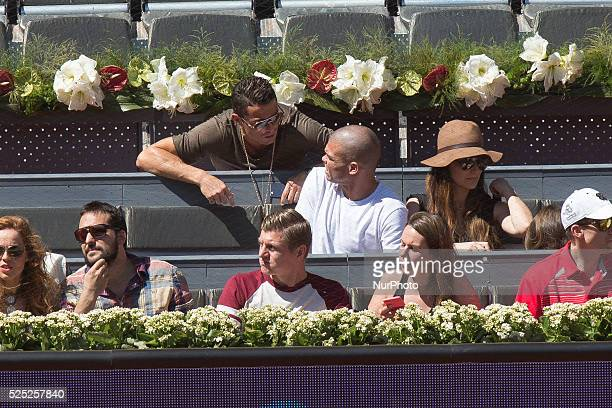 Cristiano Ronaldo attend day seven of the Mutua Madrid Open tennis tournament at the Caja Magica on May 7 2015 in Madrid SpainCristiano Ronaldo...