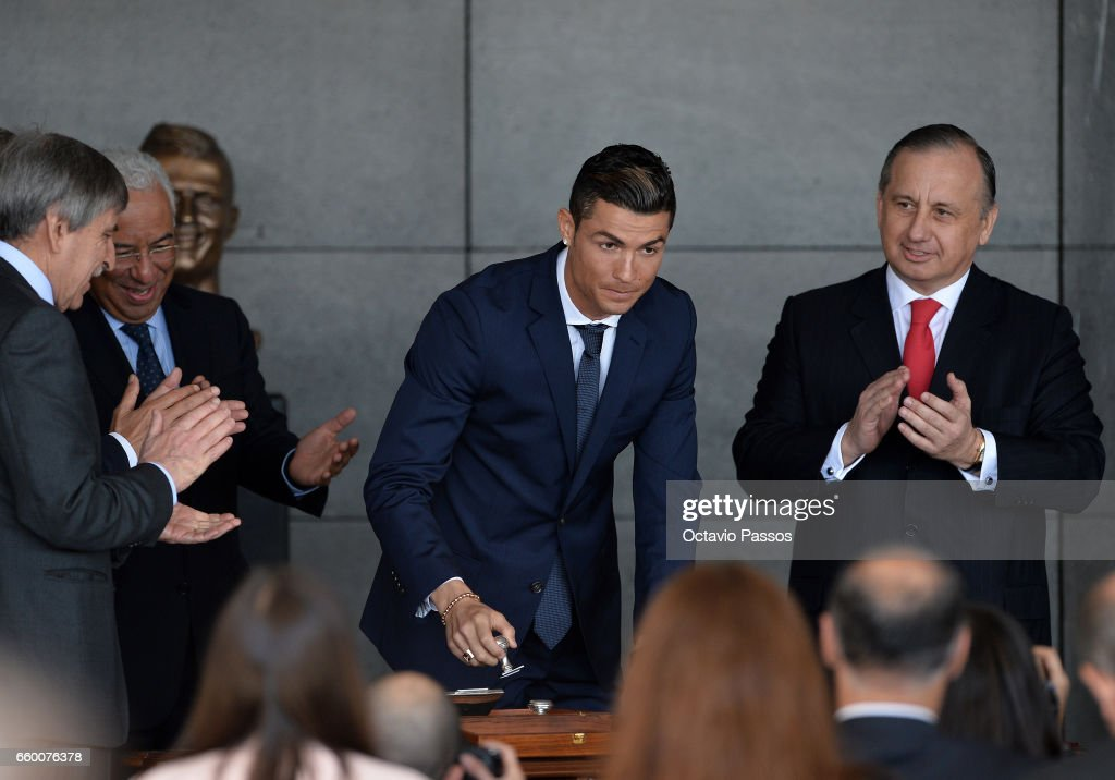 Cristiano Ronaldo attend during the ceremony at Madeira Airport to rename it Cristiano Ronaldo Airport on March 29, 2017 in Santa Cruz, Madeira, Portugal.