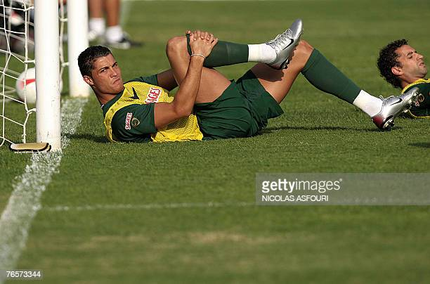 Cristiano Ronaldo attends a training session at the national stadium in Lisbon 07 September 2007 Portugal plays against Poland 08 September AFP...