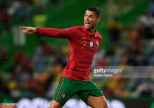 Cristiano Ronaldo, Captain of Portugal shouts instructions to his team mates during the international friendly match between Portugal and Spain at...