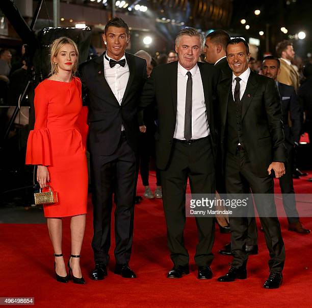 Cristiano Ronaldo Carlo Ancelotti and Jorge Mendes attends the World Premiere of 'Ronaldo' at Vue West End on November 9 2015 in London England