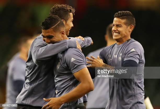 Cristiano Ronaldo Casemiro and James Rodríguez of Real Madrid areseen during a training session prior to The UEFA Champions League Final between...