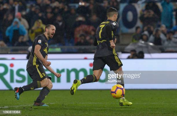 Cristiano Ronaldo celebarates after scoring goal 12 during the Italian Serie A football match between SS Lazio and FC Juventus at the Olympic Stadium...