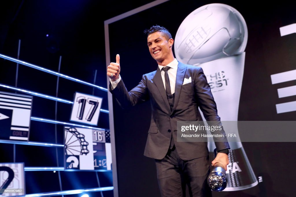 Cristiano Ronaldo celebrates after accepting The Best FIFA Men's Player award during The Best FIFA Football Awards at The London Palladium on October 23, 2017 in London, England.