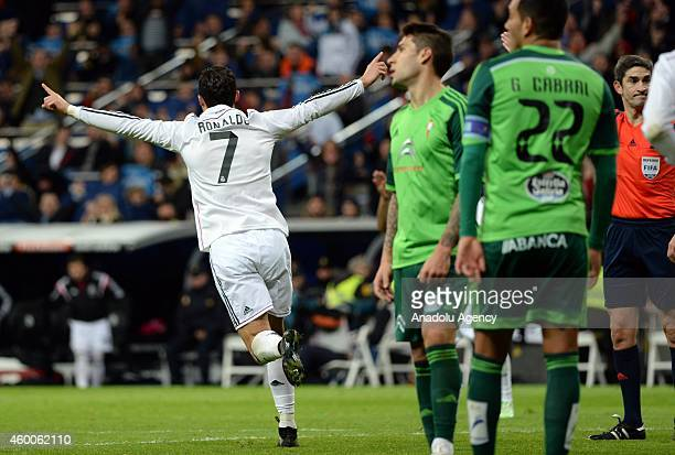 Cristiano Ronaldo celebrates after his goal during the Spanish La Liga soccer match between Real Madrid and RC Celta at the Santiago Bernabeu stadium...