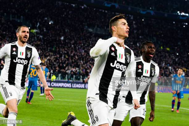Cristiano Ronaldo celebrates after scoring his third goal during the UEFA Champions League round of 16 second leg match between Club Atletico de...