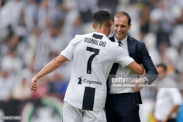 Cristiano Ronaldo celebrates his goal of 10 with head coach of Juventus Massimiliano Allegri during the serie A match between Juventus and US...