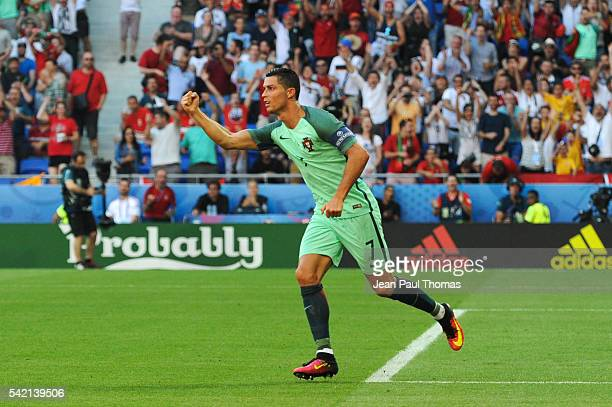 Cristiano Ronaldo celebrates scoring his goal during the UEFA EURO 2016 Group F match between Hungary and Portugal at Stade des Lumieres on June 22,...