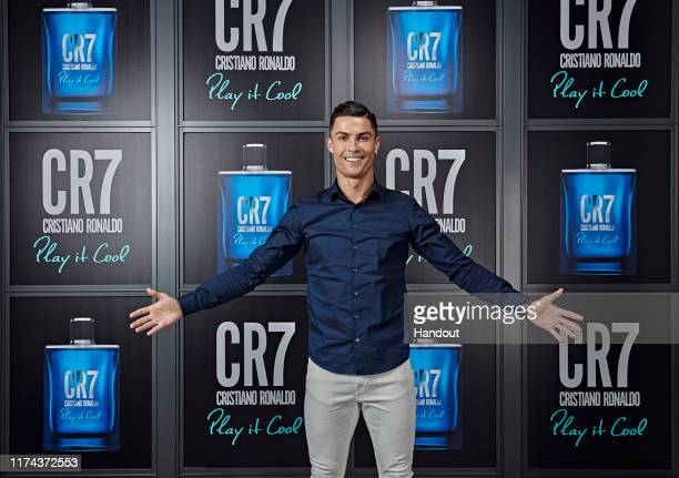 Cristiano Ronaldo celebrates the launch of new CR7 Play It Cool with friends and family on September 12, 2019 in Turin, Italy.