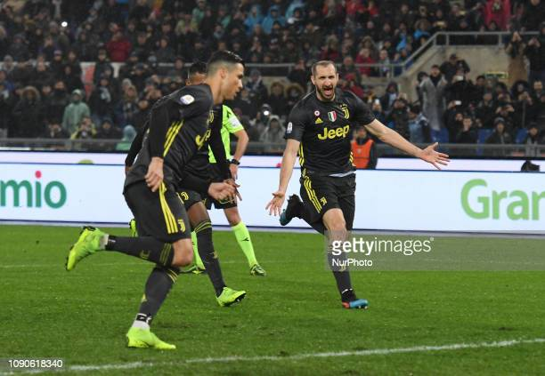 Cristiano Ronaldo celebrates with Giorgio Chiellini after scoring goal 12 during the Italian Serie A football match between SS Lazio and FC Juventus...