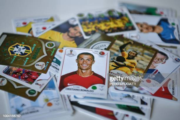 A Cristiano Ronaldo collectible card by Panini is pictured among others in Gianni Bellini's collection the owner of the largest Panini football...