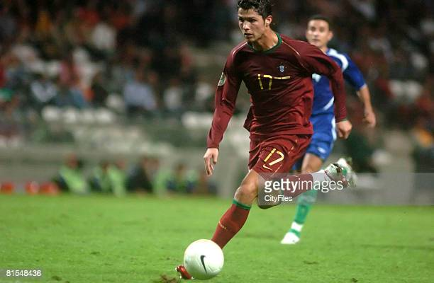 Cristiano Ronaldo during a Euro 2008 qualifying match between Portugal and Azerbaijan at Bessa XXI Stadium in Porto Portugal on October 7 2006...