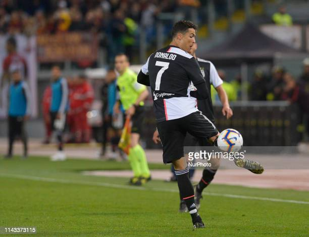 Cristiano Ronaldo during the Italian Serie A football match between AS Roma and Juventus at the Olympic Stadium in Rome on may 12 2019