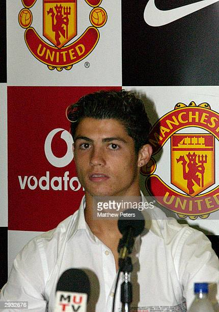Cristiano Ronaldo during the press conference during which he and Kleberson signed for the club at Old Trafford on August 13 2003 in Manchester...