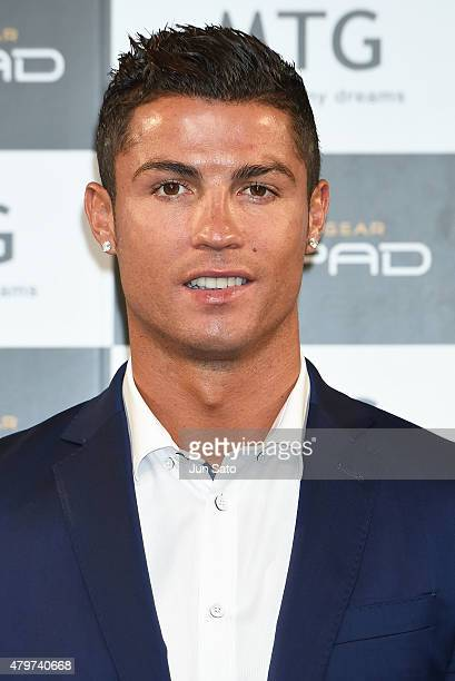 Cristiano Ronaldo during the press conference for MTG's Sixpad as a part of 'BODY REVOLUTION PROJECT' at the Bellesalle Shibuya on July 7 2015 in...
