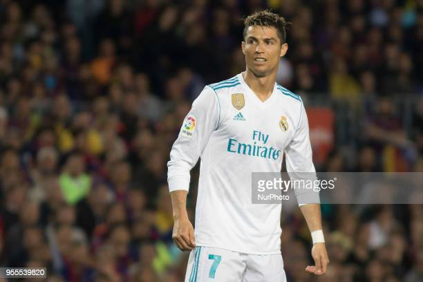 Cristiano Ronaldo during the spanish football league La Liga match between FC Barcelona and Real Madrid at the Camp Nou Stadium in Barcelona...