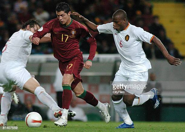 Cristiano Ronaldo during UEFA Euro 2008 Qualifying match between Portugal and Belgium in Lisbon Portugal on March 20 2007