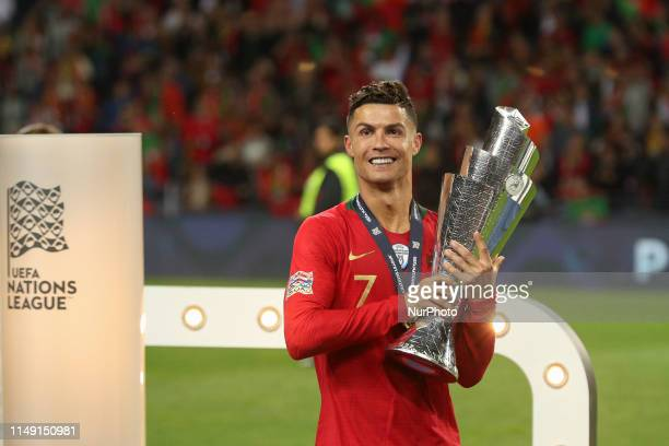 Cristiano Ronaldo forward of Portugal celebrates the victory of the trophy UEFA Nations League Final match between Portugal and Netherlands at the...