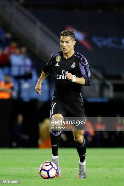 Cristiano Ronaldo forward of Real Madrid drives the ball during the La Liga Santander match between Celta de Vigo and Real Madrid at Balaidos Stadium...