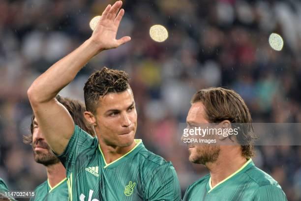 Cristiano Ronaldo from 'Campioni Per La Ricerca' makes a gesture during a 'Partita Del Cuore' Charity Match at Allianz Stadium Campioni Per La...