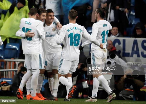 Cristiano Ronaldo Gareth Bale Carlos Casemiro Theo Hernandez and Marcos Llorente of Real Madrid celebrate after scoring a goal during the La Liga...