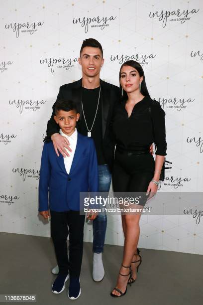 Cristiano Ronaldo Georgina Rodriguez and Cristiano Ronaldo Jr attend 'Isparya' inauguration on March 18 2019 in Madrid Spain