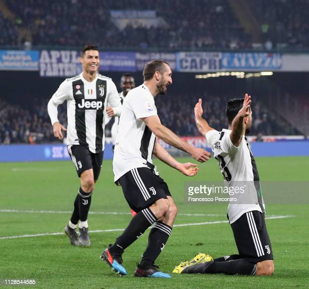 Cristiano Ronaldo Giorgio Chiellini and Emre Can celebrate the 02 goal scored by Emre Can during the Serie A match between SSC Napoli and Juventus at...