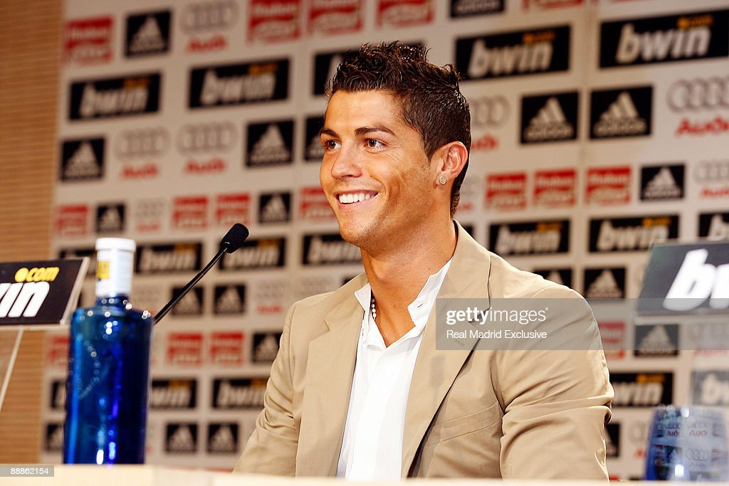 Cristiano Ronaldo gives a press conference during his official presentation as new Real Madrid Player, at the Santiago Bernabeu Stadium on July 6, 2009 in Madrid, Spain.
